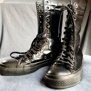 Converse patent leather lace up boot sneakers